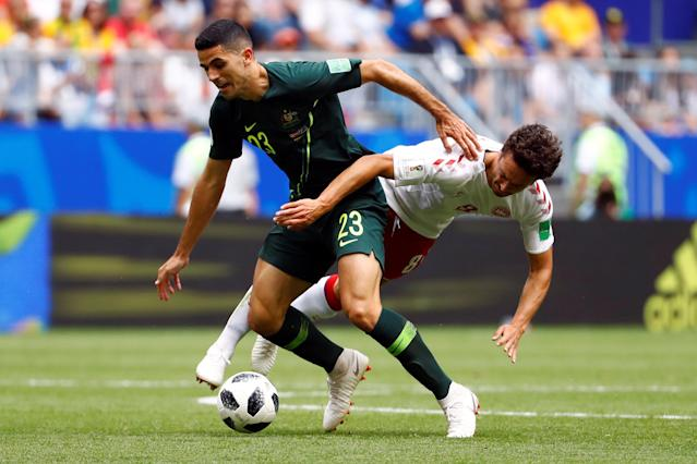 Soccer Football - World Cup - Group C - Denmark vs Australia - Samara Arena, Samara, Russia - June 21, 2018 Australia's Tom Rogic in action with Denmark's Thomas Delaney REUTERS/Michael Dalder