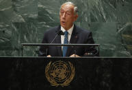 Portugal President Marcelo Rebelo de Sousa addresses the 76th Session of the U.N. General Assembly at United Nations headquarters in New York, on Tuesday, Sept. 21, 2021. ( Eduardo Munoz/Pool Photo via AP)