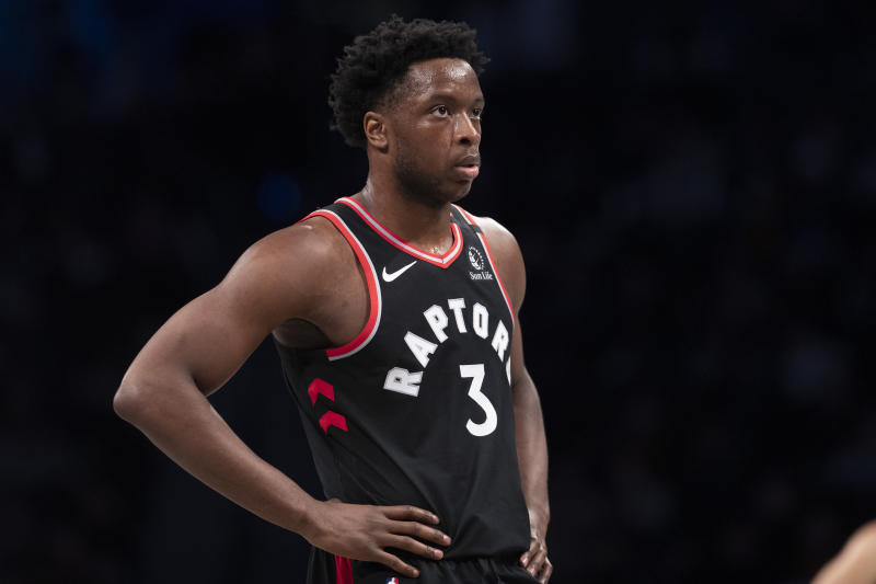 Toronto Raptors forward OG Anunoby during a break in action in the first half of an NBA basketball game against the Brooklyn Nets, Saturday, Jan. 4, 2020, in New York. (AP Photo/Mary Altaffer)