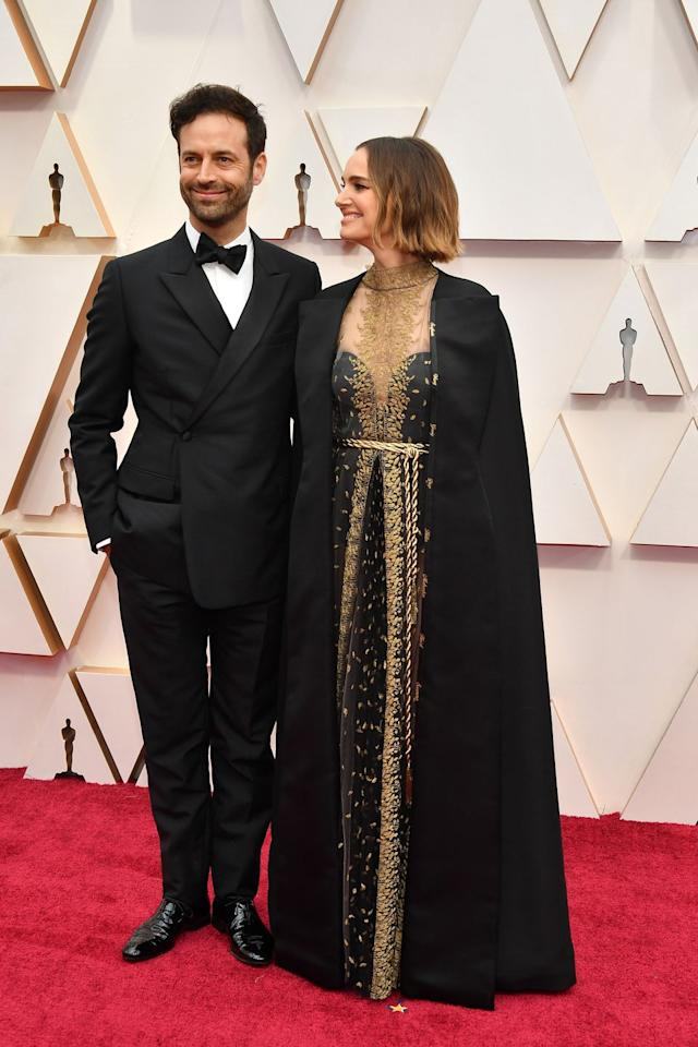 <p>Natalie Portman smiled adoringly at her husband of eight years, Benjamin Millepied. The couple met on the set of Black Swan in 2009, and married in 2012.</p>