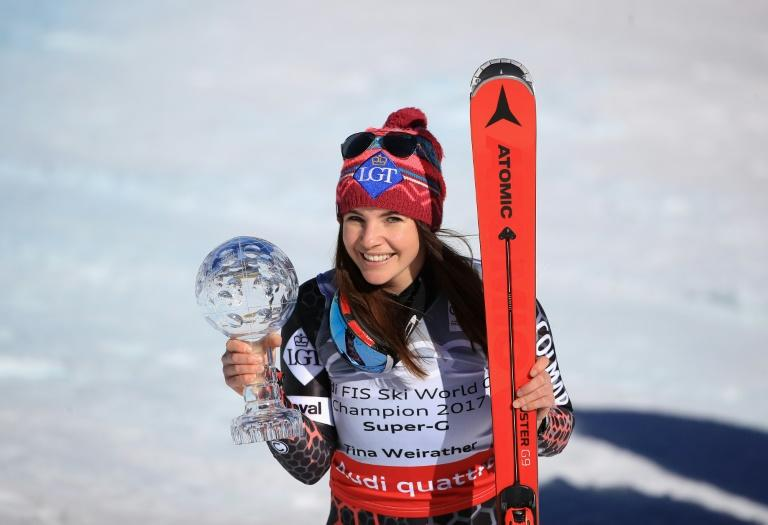 Tina Weirather of Liechtenstein smiles with the globe for winning the overall title for the ladies' Super-G following the ladies' Super-G during the Audi FIS Ski World Cup Finals at Aspen Mountain on March 16, 2017 in Aspen, Colorado