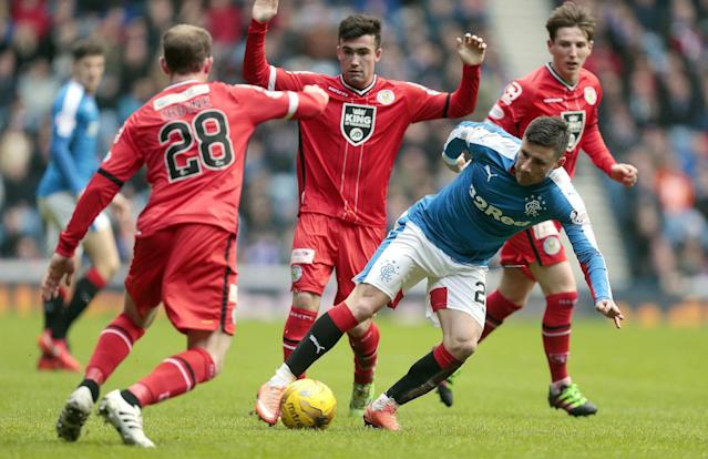 Football Soccer - Rangers v St Mirren - Ladbrokes Scottish Championship - Ibrox - 27/2/16 Rangers' Michael O'Halloran (R) in action with St Mirren's Gary Irvine Mandatory Credit: Action Images / Graham Stuart Livepic EDITORIAL USE ONLY.