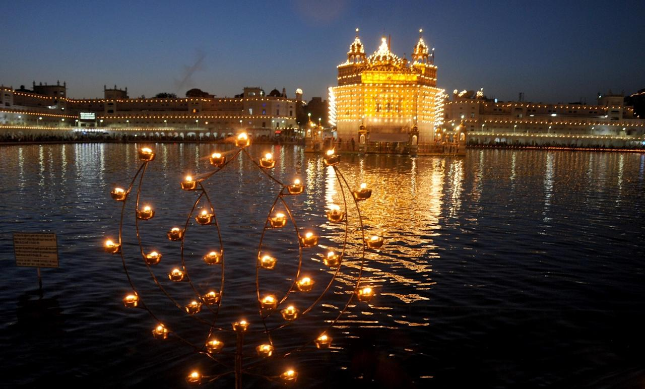 <p>Amritsar: A view of fireworks at the Golden Temple on Baisakhi in Amritsar, on April 13, 2016. (Photo: IANS) </p>