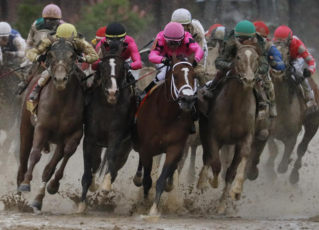 FILE - In this May 4, 2019, file photo, Flavien Prat on Country House, left, races against Luis Saez on Maximum Security, third from left, during the 145th running of the Kentucky Derby horse race at Churchill Downs in Louisville, Ky. Kentucky Derby winner Country House will not run in the Preakness. Assistant trainer Riley Mott confirmed to The Associated Press on Tuesday, May 7 that the longshot winner of horse racings biggest event is no longer being considered for the second jewel of the Triple Crown. Country House was named the winner of the Kentucky Derby after Maximum Security was disqualified. (AP Photo/John Minchillo, File)