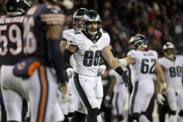 """<a class=""""link rapid-noclick-resp"""" href=""""/nfl/teams/philadelphia/"""" data-ylk=""""slk:Eagles"""">Eagles</a> tight end <a class=""""link rapid-noclick-resp"""" href=""""/nfl/players/31019/"""" data-ylk=""""slk:Dallas Goedert"""">Dallas Goedert</a> (88) celebrates a touchdown during the second half of Philly's wild-card playoff game against the Bears. (AP)"""