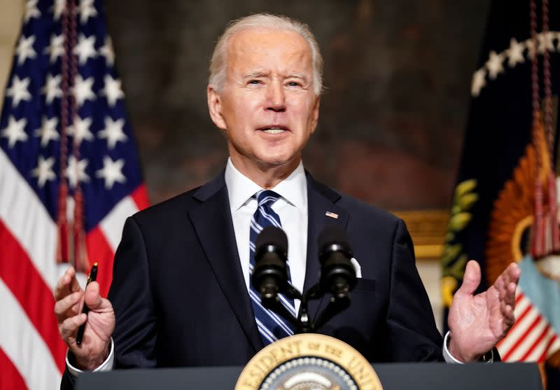 U.S. President Joe Biden speaks about administration plans to confront climate change at the White House ceremony in Washington