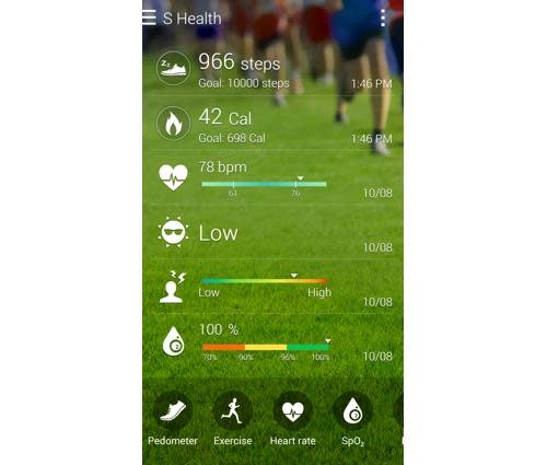 S Health app on a Galaxy Note 4 smartphone
