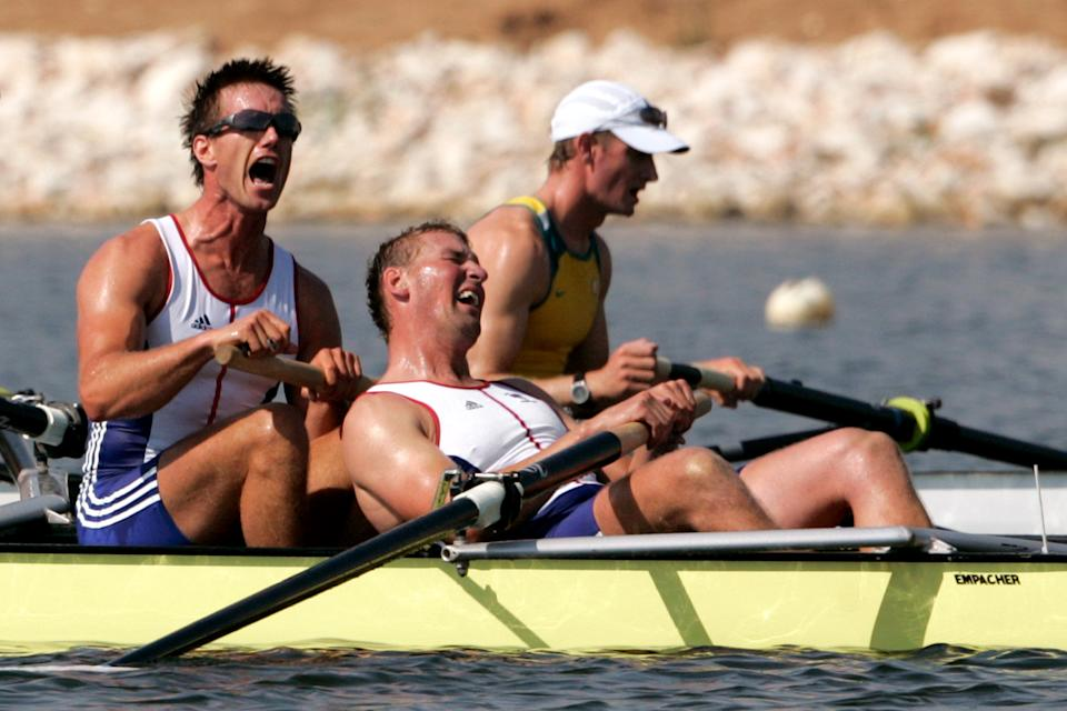 Great Britain's Ed Coode (left) and four time Olympic gold medallist Matthew Pinsent react after winning in the Men's Four rowing final during the 2004 Olympic Games at the Schinias Olympic Rowing Centre in Athens.