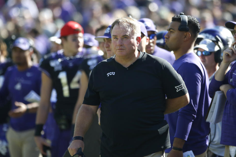 TCU head coach Gary Patterson looks on as TCU plays Baylor during the second half of an NCAA college football game Saturday, Nov. 9, 2019, in Fort Worth, Texas. Baylor won 29-23 in triple overtime. (AP Photo/Ron Jenkins)