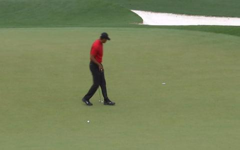 <span>Woods on the 18th green</span> <span>Credit: BBC </span>