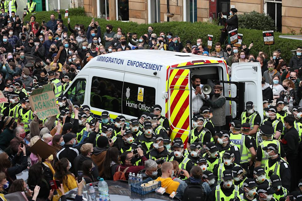 Glasgow immigration protest (PA Wire)