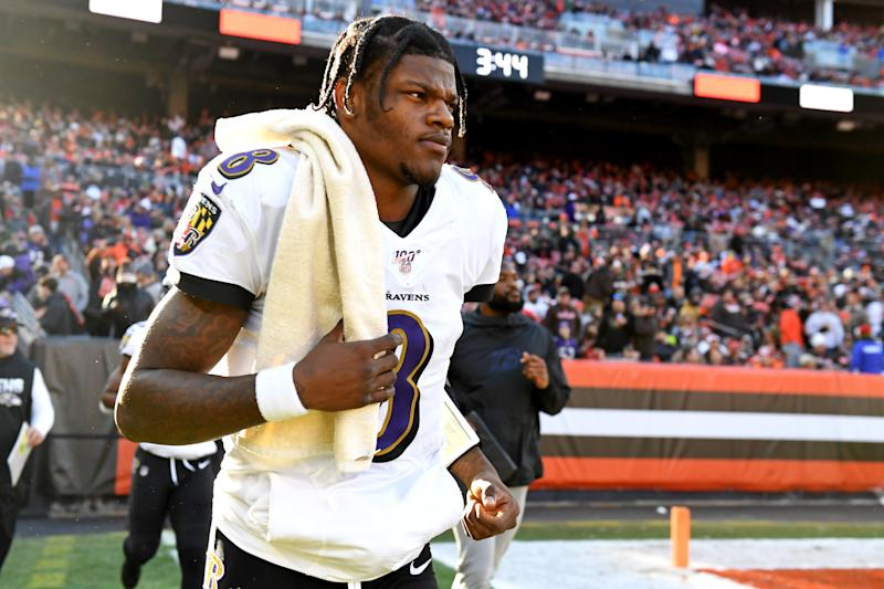 CLEVELAND, OH - DECEMBER 22, 2019: Quarterback Lamar Jackson #8 of the Baltimore Ravens runs onto the field at halftime of a game against the Cleveland Browns on December 22, 2019 at FirstEnergy Stadium in Cleveland, Ohio. Baltimore won 31-15. (Photo by: 2019 Nick Cammett/Diamond Images via Getty Images)