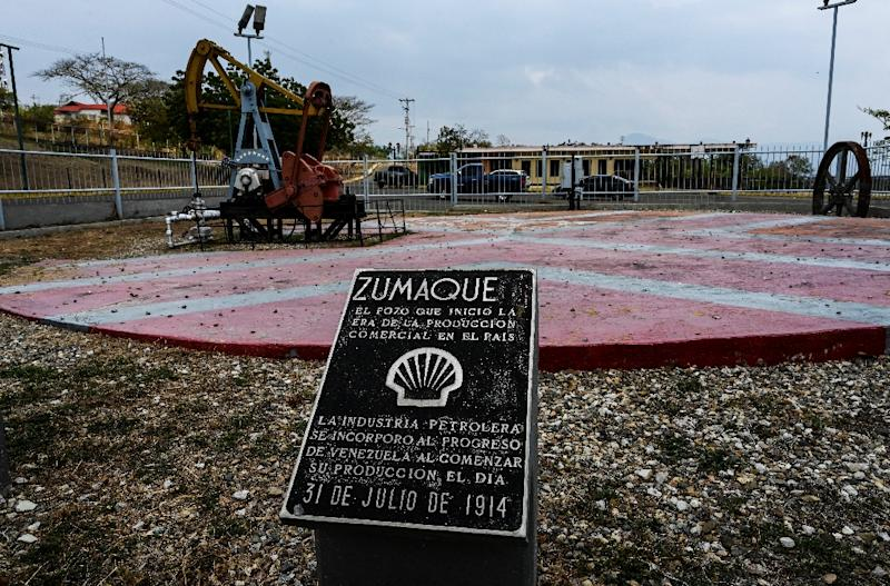 A plaque in Mene Grande commemorates the beginning of oil exploration in Venezuela on July 31, 1914 (AFP Photo/Juan BARRETO)