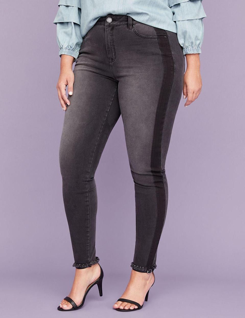 "<p><a href=""https://fave.co/2QEBabf"" rel=""nofollow noopener"" target=""_blank"" data-ylk=""slk:Shop it:"" class=""link rapid-noclick-resp""><strong>Shop it:</strong> </a>Ultimate Stretch Skinny Jean in Black Tuxedo Stripe, $40 (was $79),<a href=""https://fave.co/2QEBabf"" rel=""nofollow noopener"" target=""_blank"" data-ylk=""slk:lanebryant.com"" class=""link rapid-noclick-resp""> lanebryant.com </a> </p>"