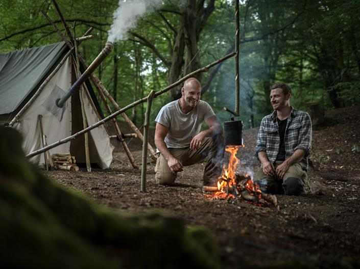 <p>Ed Stafford and Steven Hanton host a free bushcraft series for families around the UK</p> (Ed Stafford)