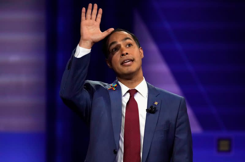 FILE PHOTO: Democratic 2020 U.S. presidential candidate Julian Castro gestures during a televised townhall on CNN dedicated to LGBTQ issues in Los Angeles, California