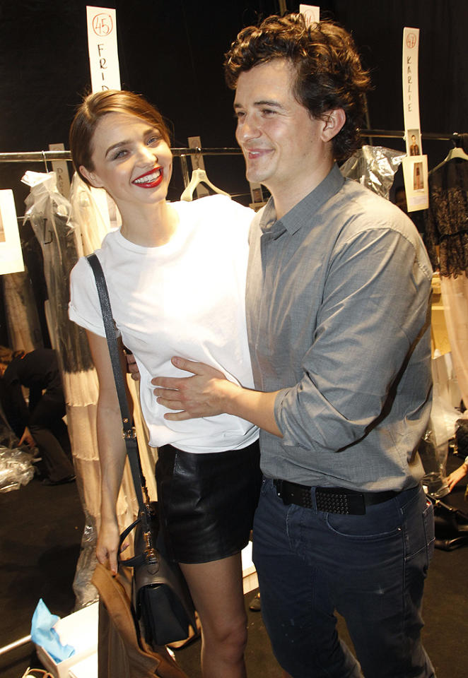 "<p class=""MsoNormal"">Though model Miranda Kerr and fellow Aussie, actor Orlando Bloom, had been dating for more than two years before they announced their engagement in June 2010, the ridiculously attractive duo didn't waste any time with wedding planning and tied the knot in a small ceremony the following month. Son Flynn arrived six months later. Though divorce rumors have swirled in recent months, the couple's reps insist that they're doing just fine. </p>"