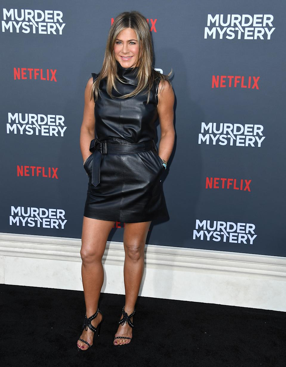 "WESTWOOD, CALIFORNIA - JUNE 10: Jennifer Aniston arrives at the LA Premiere Of Netflix's ""Murder Mystery"" at Regency Village Theatre on June 10, 2019 in Westwood, California. (Photo by Steve Granitz/WireImage)"