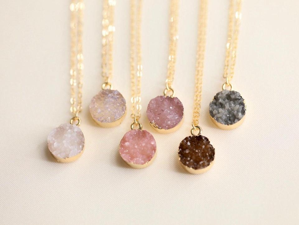 <p>Add a subtle pop of color to your minimalist accessories with this <span>Druzy Necklace</span> ($20 and up).</p>