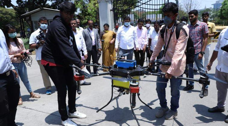 karnataka coronavirus cases, coronavirus outbreak, drone, bbmp, bengaluru, covid-19, india news, indian express