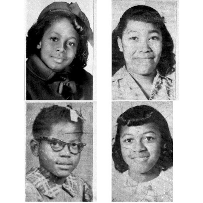 Denise McNair, 11; Carole Robertson, 14; Addie Mae Collins, 14; and Cynthia Wesley, 14.