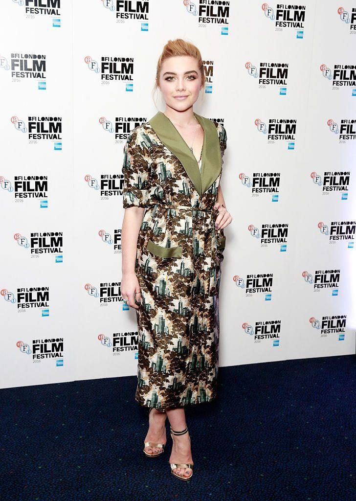 <p>Pugh wore a smoking jacket-style midi dress to the Lady Macbeth photocall, October 2016. </p>