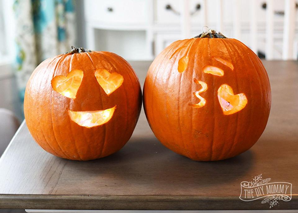 """<p>Use a classic carving techniques to cut out this friendly faces that will delight trick-or-treaters on <a href=""""https://www.countryliving.com/entertaining/a40250/heres-why-we-really-celebrate-halloween/"""" rel=""""nofollow noopener"""" target=""""_blank"""" data-ylk=""""slk:Halloween night"""" class=""""link rapid-noclick-resp"""">Halloween night</a>.<br></p><p><strong>Get the tutorial at <a href=""""http://thediymommy.com/make-emoji-carved-pumpkins-for-halloween/"""" rel=""""nofollow noopener"""" target=""""_blank"""" data-ylk=""""slk:The DIY Mommy"""" class=""""link rapid-noclick-resp"""">The DIY Mommy</a>.</strong></p><p><a class=""""link rapid-noclick-resp"""" href=""""https://www.amazon.com/GoStock-Professional-Halloween-Stainless-Lanterns/dp/B08B5Z4XQ9/?tag=syn-yahoo-20&ascsubtag=%5Bartid%7C10050.g.22133548%5Bsrc%7Cyahoo-us"""" rel=""""nofollow noopener"""" target=""""_blank"""" data-ylk=""""slk:SHOP CARVING KITS""""><strong><strong><strong>SHOP CARVING KITS</strong></strong> </strong> </a></p>"""