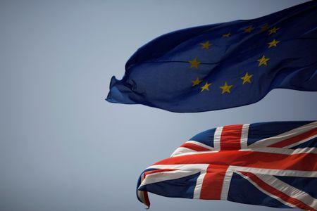 bigThe Union Jack and the European Union flag are seen flying in the British overseas territory of Gibraltar