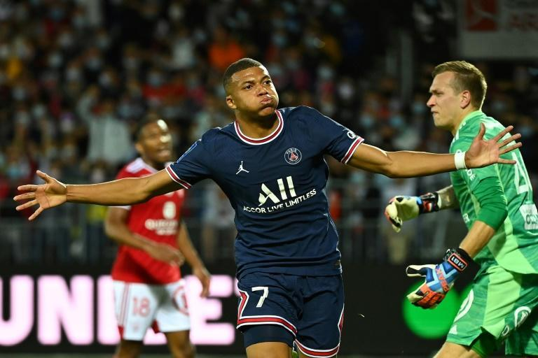 Kylian Mbappe got his first goal of the season as PSG won 4-2 at Brest