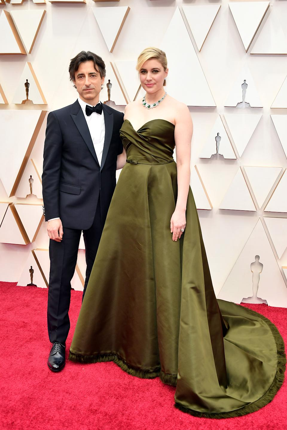 """A big night for the Baumbach-Gerwig household! Baumbach is up for two awards including Best Director for his film """"Marriage Story,"""" while Gerwig (wearing Dior Haute Couture) is nominated for Best Adapted Screenplay for her film, """"Little Women."""""""