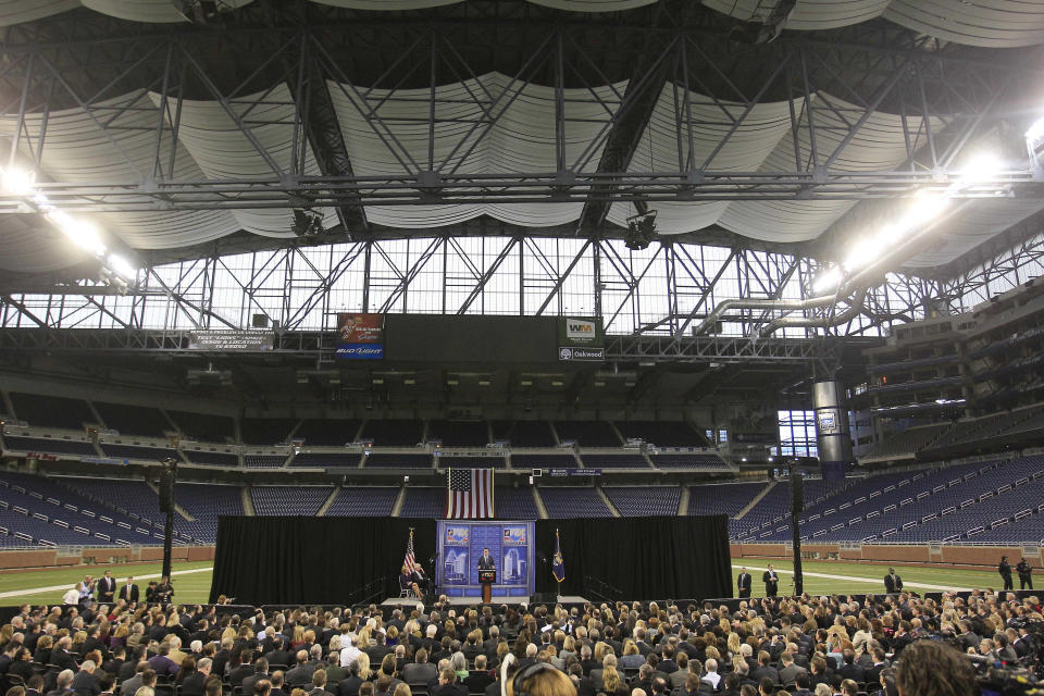 Republican presidential candidate, former Massachusetts Gov. Mitt Romney, addresses the Detroit Economic Club at Ford Field in Detroit, Friday, Feb. 24, 2012. (AP Photo/Carlos Osorio)