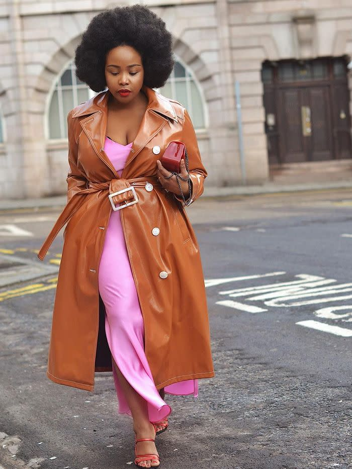 2c07bc5802d6 Style Notes: Ada's signature look is to combine block colours together and  this outfit is no different. The neon pink is a great match for the brown  trench ...
