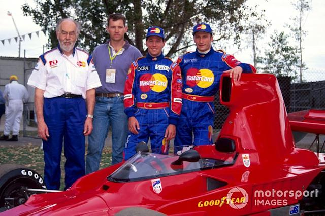 "Eric Broadley, Lola Team Principal, a guest, Ricardo Rosset, Lola and Vincenzo Sospiri, Lola <span class=""copyright"">Sutton Images</span>"