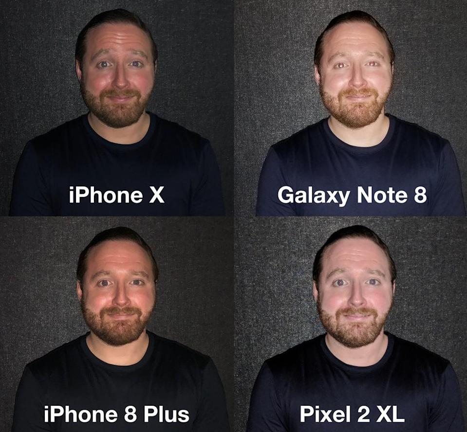 The iPhone X's flash was more even than any other handset's camera.