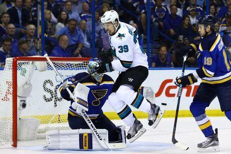 May 23, 2016; St. Louis, MO, USA; San Jose Sharks center Logan Couture (39) attempts to deflect a shot in front of St. Louis Blues goalie Jake Allen (34) during the second period in game five of the Western Conference Final of the 2016 Stanley Cup Playoffs at Scottrade Center. Mandatory Credit: Billy Hurst-USA TODAY Sports