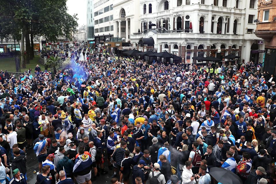 Scotland fans gather in Leicester Square before the UEFA Euro 2020 match between England and Scotland later tonight (PA)