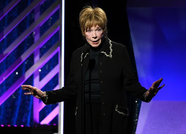 Shirley MacLaine accepts the Career Achievement Award at AARP The Magazine's 18th Annual Movies for Grownups Awards, 2019. (Michael Kovac/Getty Images for AARP)
