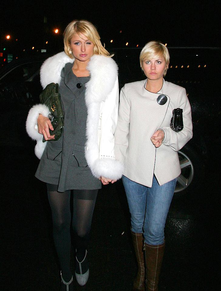 """The BFFs crawl back to their Manhattan hotel at 5 a.m. after hours of partying. Jose Perez/<a href=""""http://www.infdaily.com"""" target=""""new"""">INFDaily.com</a> - January 29, 2008"""