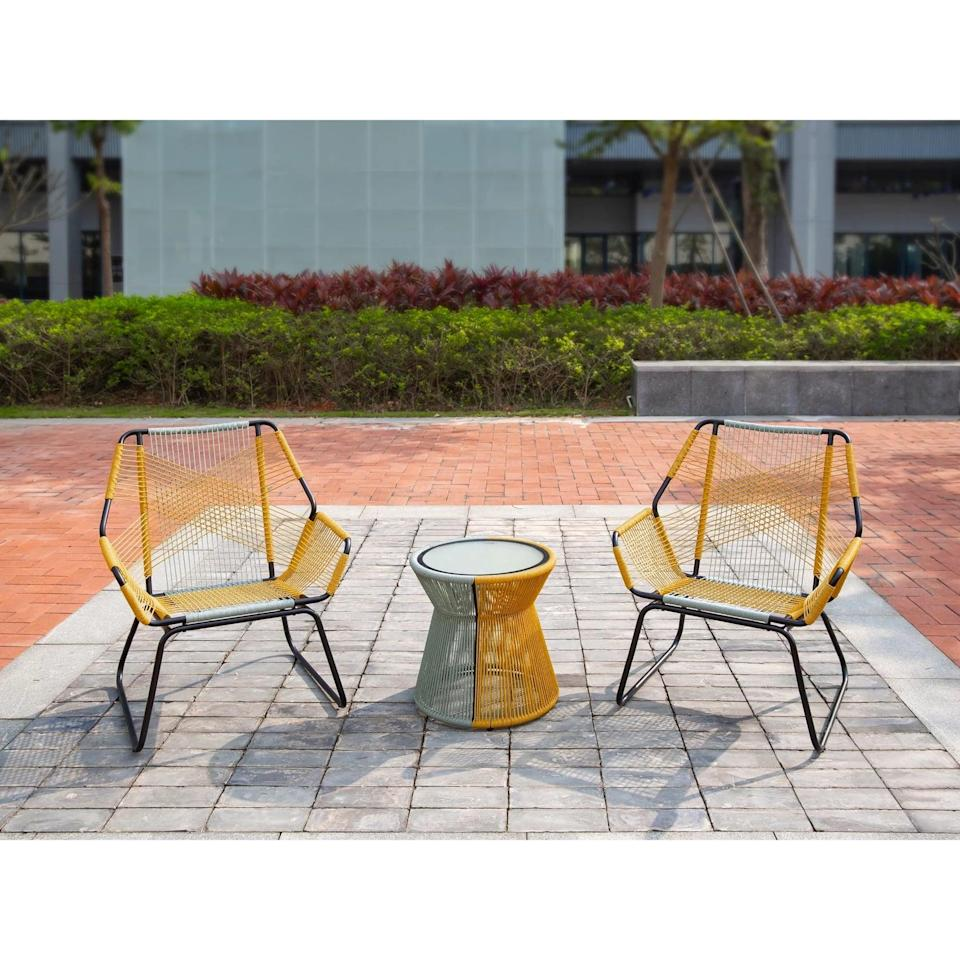 <p>Brighten up your patio with the yellow roping on the <span>Carag Patio Chat Set</span> ($350).</p>
