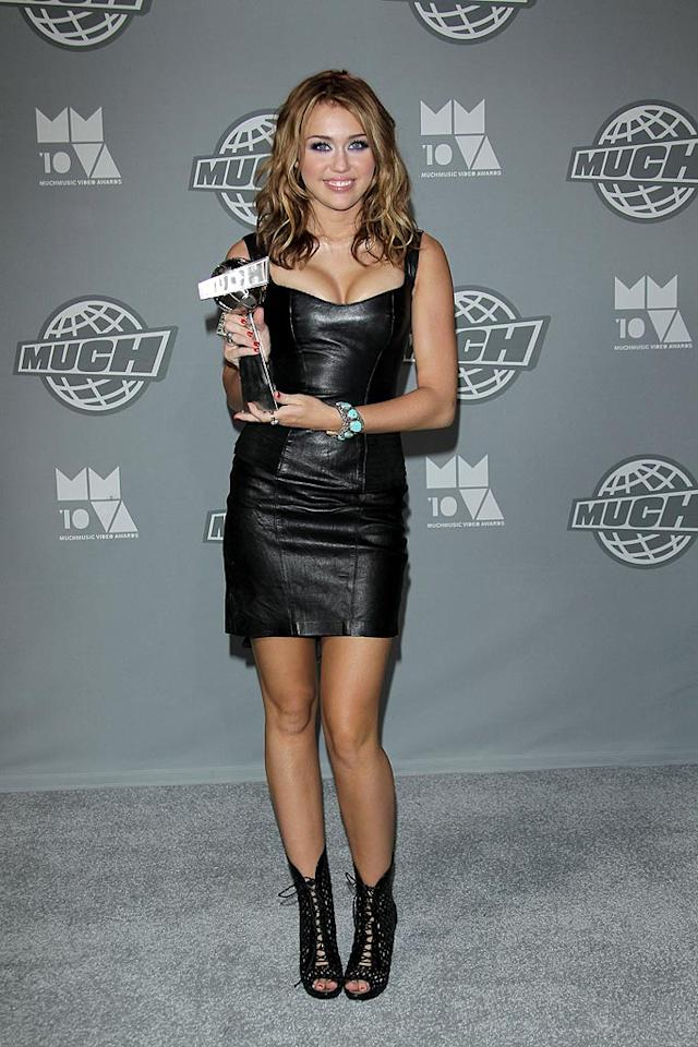 """As well as co-hosting the ceremony and changing outfits about a million times, Miley Cyrus also picked up the International Video of the Year award for her hit song """"Party in the USA."""" George Pimentel/<a href=""""http://www.wireimage.com"""" target=""""new"""">WireImage.com</a> - June 20, 2010"""
