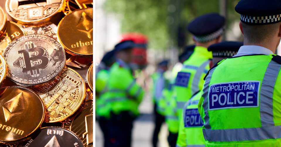 UK Metropolitan police officers standing together in the city and a representation of different crypto coins