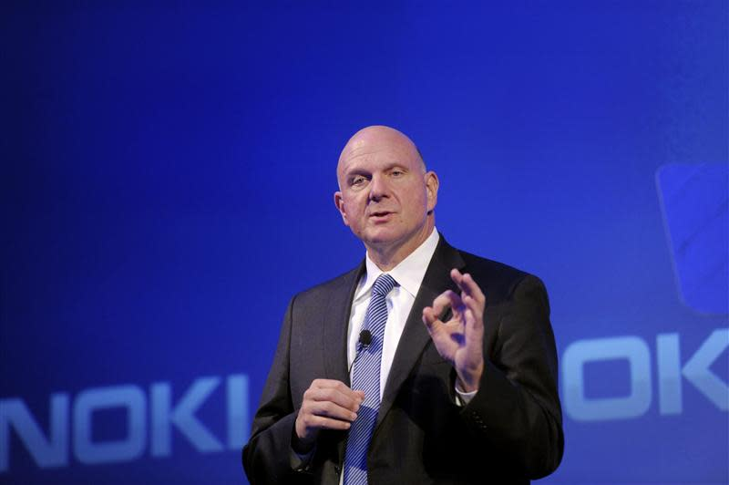 Microsoft CEO Ballmer speaks during the news conference of Finnish mobile phone manufacturer Nokia in Espo
