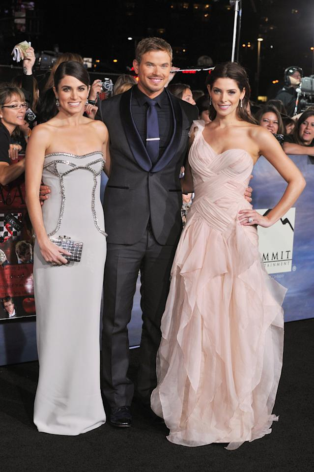 "(L-R) Actors Nikki Reed, Kellan Lutz and Ashley Greene arrive at ""The Twilight Saga: Breaking Dawn - Part 2"" Los Angeles premiere at the Nokia Theatre L.A. Live on November 12, 2012 in Los Angeles, California.  (Photo by Lester Cohen/WireImage)"