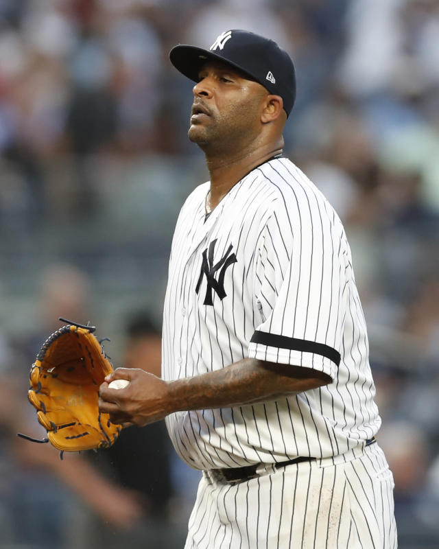 New York Yankees starting pitcher CC Sabathia reacts after allowing a solo home run to Tampa Bay Rays' Yandy Diaz during the fourth inning of a baseball game Tuesday, July 16, 2019, in New York. (AP Photo/Kathy Willens)