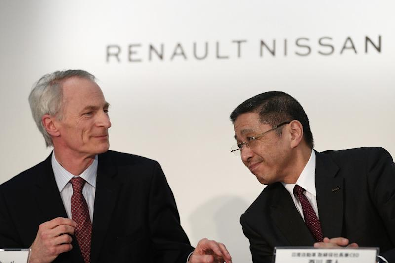 Renault chairman Jean-Dominique Senard (L, with Nissan CEO Hiroto Saikawa) says the recovery of Nissan is 'the main priority' (AFP Photo/Behrouz MEHRI)
