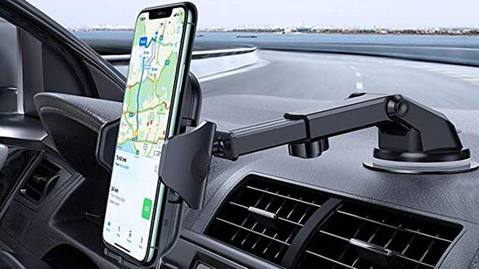 Customers love this Vicseed phone mount for having a sturdy grip on larger phones.