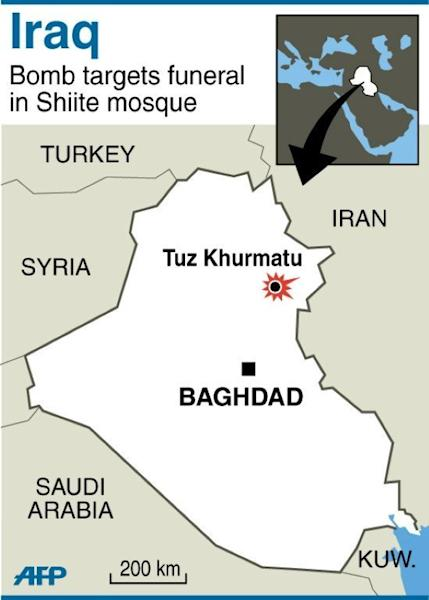 Map of Iraq locating attack on Shiite mosque in Tuz Khurmatu. A suicide bomber made his way into a crowded Shiite mosque before blowing himself up in the middle of a packed funeral on Wednesday, killing 42 people and leaving corpses scattered across the floor