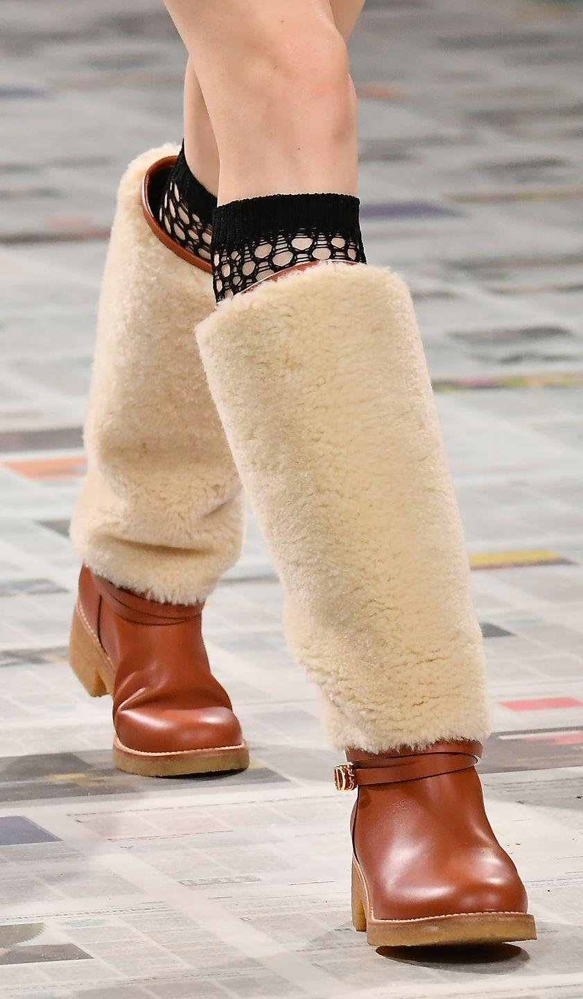 <p>Brands like Dior (<em>left</em>), Prada, and Ferragamo showcased shearling styles this season, and with good reason—they're both warm <em>and </em>chic.</p>