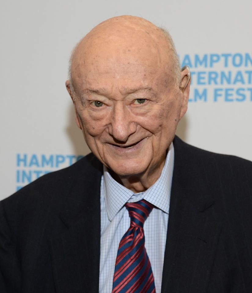 "EAST HAMPTON, NY - OCTOBER 08:  Ed Koch attends the ""Koch"" screening during the 20th Hamptons International Film Festival at United Artists Regal Cinema on October 8, 2012 in East Hampton, New York.  (Photo by Jason Kempin/Getty Images)"