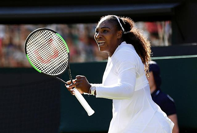 "<a class=""link rapid-noclick-resp"" href=""/olympics/rio-2016/a/1132744/"" data-ylk=""slk:Serena Williams"">Serena Williams</a> got her 2018 Wimbledon appearance off to a winning start Monday morning, but issues surrounding targeted drug testing loom large. (Reuters)"